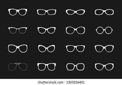 White glasses rims vector collection on black backdrop. Illustration of eye optical rim, eyewear form of set