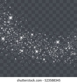 White glitter texture christmas background. Particles effect for luxury greeting rich card.  Star dust sparks in explosion.