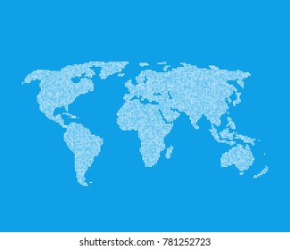 white global world map like infographic element. concept of earth globe from little dots worldmap vector badge. simple flat style trend modern logotype graphic art design isolated on blue background
