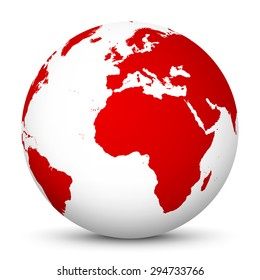 White Globe with Red Continents and smooth Shadow on White Background - Vector Illustration