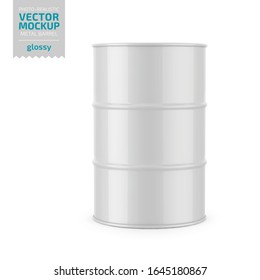 White glossy 200 l metal barrel. Container for liquid chemical products - oil, fuel, gasoline. Photo-realistic packaging vector mockup template. Vector 3d illustration.