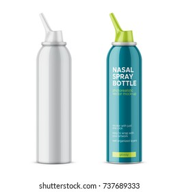 White glossy aluminum bottle with sprayer for nasal spray. 125 ml. Photo-realistic packaging mockup template with sample design. Side view. Vector illustration.