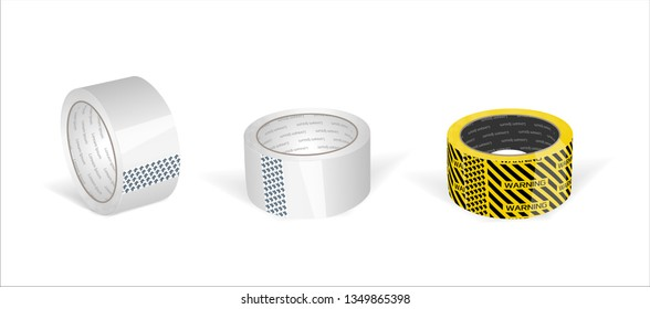White glossy cello tape roll on white isolated background