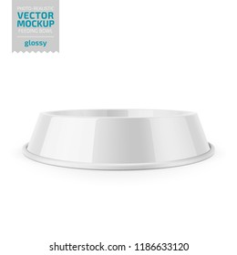 White glossy pet feeding bowl for food or water on rubber base for cats or dogs. Photo-realistic mockup template. Vector 3d illustration.