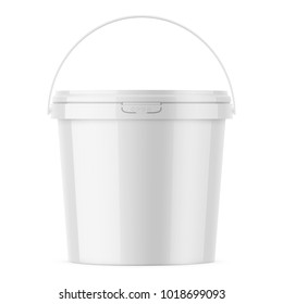White glossy plastic bucket for food products, paint, household stuff. 900 ml. Realistic packaging mockup template. Front view, handle up. Vector illustration.