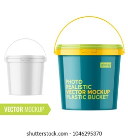 White glossy plastic bucket for food products, paint, paste, putty. 900 ml. Realistic packaging mockup template with sample design. Front view, handle up. Vector illustration.
