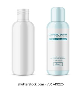 White glossy plastic cosmetic bottle with blank label. 200 ml. Cosmo round style. For lotion, body milk, shampoo etc. Photo-realistic packaging mockup template with sample design. Vector illustration.