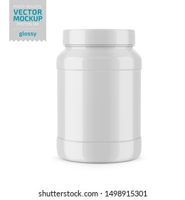 White glossy plastic jar with lid and label for protein, mass gainer, powder, pills. Photo-realistic packaging mockup template. Vector 3d illustration.