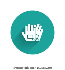 White Gloves icon isolated with long shadow. Extreme sport. Sport equipment. Green circle button. Vector Illustration