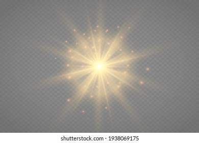 White Glow light set with white and golden dust, stars. Glitter special light effect. Christmas. Glare texture