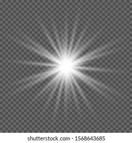 White glowing explosion. Vector illustration for decorating cool effect with radiation sparkles. Bright Star. Transparent glitter shine gradient, bright flash. Glare texture. White glare.