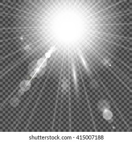 White glowing light burst with bokeh effect. Vector EPS 10.