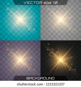 White glowing light burst explosion with transparent. Vector illustration for cool effect decoration with ray sparkles. Bright star. Transparent shine gradient glitter, bright flare. Glare texture.