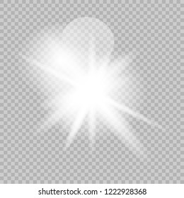 White glowing light burst explosion with transparent.Bright star. Transparent shine gradient glitter, bright flare. Glare texture. Vector illustration.
