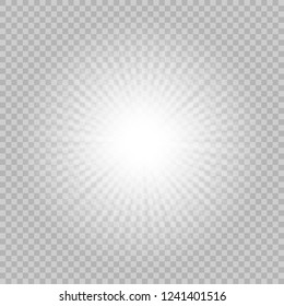 White glowing light burst explosion with transparent. Vector illustration Bright star.