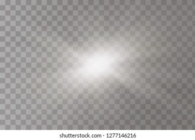 White glowing light burst explosion with transparent. Vector illustration for cool effect decoration with ray sparkles. Bright star. Transparent shine gradient glitter, bright flare. Glare texture