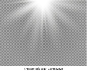 White glowing light burst explosion on transparent background. Vector illustration light effect decoration with ray. Bright star. Translucent shine sun, bright flare. Center vibrant flash