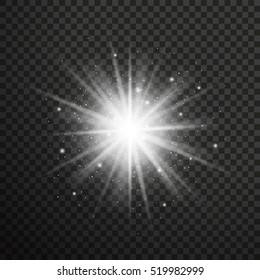 White glowing light burst explosion with transparent.Vector illustration for effect decoration with ray sparkles.