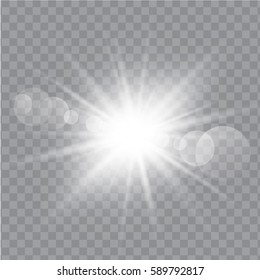 White glowing light burst explosion with transparent. Vector illustration EPS10