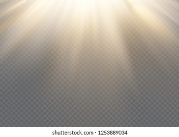 White glowing light explodes on a transparent background. Vector illustration of light decoration effect with ray.