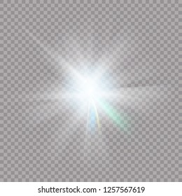 White glowing light explodes on a transparent background. Sparkling magical dust particles. Bright Star. Transparent shining sun, bright flash. Vector sparkles. To center a bright flash