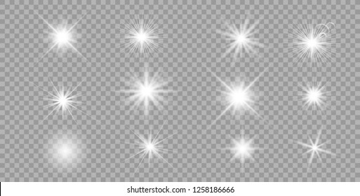 White glowing light explodes on a transparent background. Sparkling magical dust particles. Bright Star. Transparent shining sun, bright flash. Vector sparkles. To center a bright flash. - Vector
