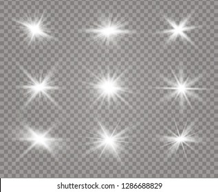 White glowing light explodes on a transparent background. Sparkling magical dust particles. Bright Star. Transparent shining sun, bright flash