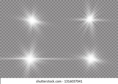 White glowing light explodes on a transparent background. with ray.  Transparent shining sun, bright flash.  Special lens flare light effect.