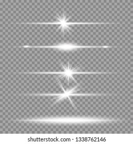White glowing light explodes on a blue background. Sparkling magical dust particles. Bright Star. Transparent shining sun, bright flash. Vector sparkles. To center a bright flash
