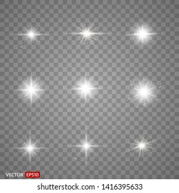 White glowing light explodes on a transparent background. Sparkling magical dust particles. Bright Star.  Vector sparkles EPS10