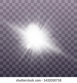 White glowing light explodes on a transparent background. Sparkling magical dust particles. Bright Star. Transparent shining sun, bright flash. Vector sparkles. To center a bright flash. Christmas