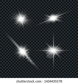 White glowing light explodes on a transparent background. Sparkling magical dust particles. Set of Bright Star. Transparent shining sun, bright flash Vector sparkles To center a bright flash Christmas
