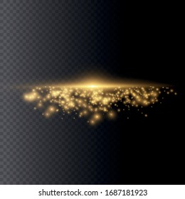 White glowing light explodes on a transparent background. Sparkling magical dust particles. Bright Star. Transparent shining sun, bright flash. Vector sparkles. To center a bright flash.