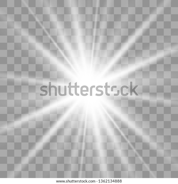 White Glowing Light Explodes On Transparent Stock Vector