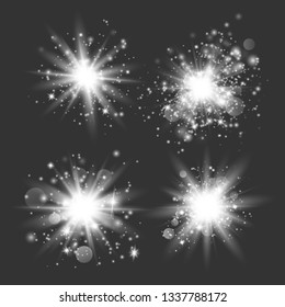 White glowing light set explodes on a transparent background.Glowing lights effect, flare, explosion and stars. Sun flash with rays and spotlight