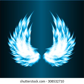 white glowing, stylized angel wings on a blue background. vector
