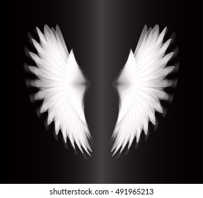 white glowing, stylized angel wings on black background. vector