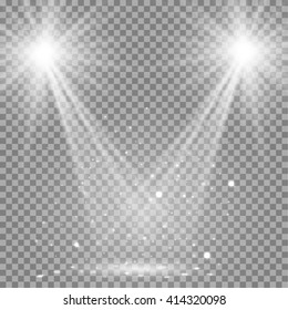 White glowing transparent disco lights background.  Bright lighting effect disco lights. Realistic studio vector illumination.