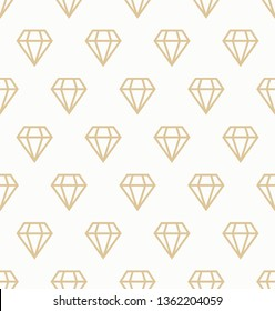 White and gold dimonds pattern. Vector golden geometric seamless pattern with diamonds for wallpapers, textile, packaging, design of luxury products - Vector Illustration