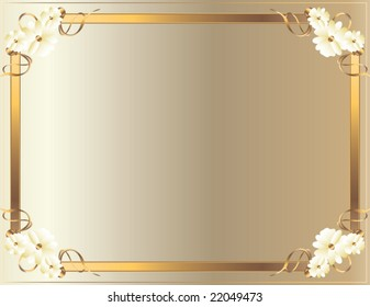 White Gold flower frame - vector (part of set - available in portfolio)