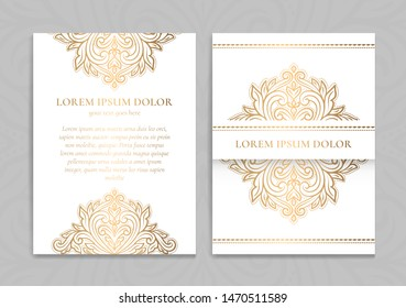 White and gold luxury invitation card design. Vintage ornament template. Can be used for background and wallpaper. Elegant and classic vector elements great for decoration.
