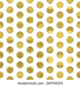 White and gold  pattern. Abstract geometric modern  polka dot background. Vector illustration.Shiny backdrop. Texture of gold foil.