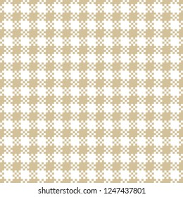 White & gold seamless gingham / vichy pattern with small squares. Pixel texture. Vector illustration for textile, wrapping paper, packaging, wallpaper etc.