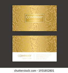 White and gold vintage business card. Luxury vector ornament template. Great for invitation, flyer, menu, background, wallpaper, decoration, packaging or any desired idea.