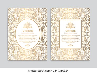 White and gold vintage greeting card design. Luxury vector ornament template. Great for invitation, flyer, menu, brochure, postcard, background, wallpaper, decoration, packaging or any desired idea.