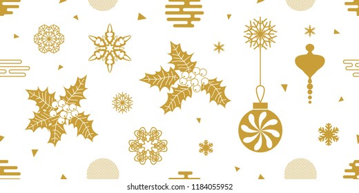 White and golden Christras an New Year composition. Seamless vector pattern with holly, rowan, festive decorations,  snowflakes and other elements. Simple design for packaging, cards and textile.