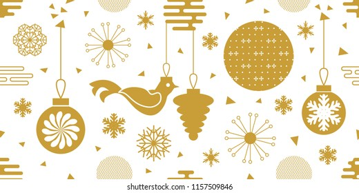 White and golden festive background. Seamless vector pattern with Christmas balls, snowflakes and other decorative elements. Minimal design for packaging, cards and textile.