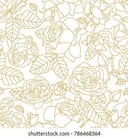 White and golden linear pattern with blooming summer roses and leaves. Seamless vector pattern with Art Deco style floral elements. Print for textile design, packaging, cards, covers.