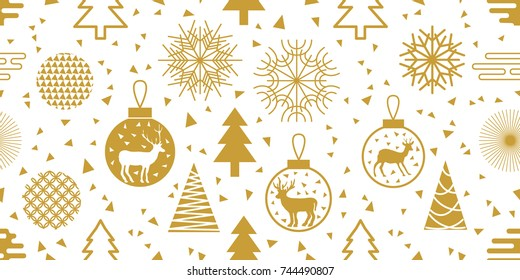White and golden New Year background. Seamless vector pattern with fir trees, Christmas balls, snowflakes and abstract geometric elements. Simple design for packaging, cards and textile.