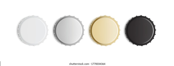 white, golden, silver and black bottle caps isolated on white background mock up vector